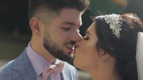 Het Paar van het huwelijk Mooie bruidegom en bruid Gelukkige Familie Man en vrouw in liefde stock footage