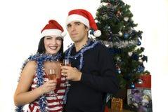 Het paar van Kerstmis Stock Foto's