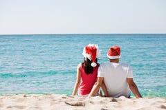 Het paar van Kerstmis in liefde Stock Afbeelding