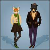 Het paar van manier hipster dieren Stock Afbeelding