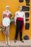 Het paar van modellen kleedde zich in traditionele Canarian royalty-vrije stock afbeeldingen