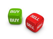 Het paar van rood en groen dobbelt met koopt, verkoopt teken Royalty-vrije Stock Foto's