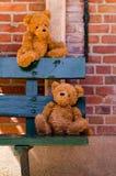 Het paar van Teddybear op een houten bank stock afbeelding