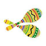 Het paar van traditionele Mexicaan kleurde helder maracas of rumbaschudbekers royalty-vrije illustratie