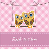 Het paar van uilen in liefde Stock Fotografie