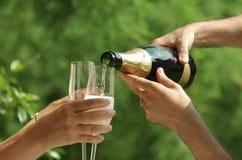 Het paar viert met wijn Stock Fotografie