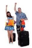 Het paar won een reis Stock Foto