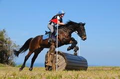 Het paard die bij het ruiter eventing springen toont Stock Foto