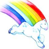 Het paard die van de beeldverhaalregenboog over de illustratie van de hemelwaterverf lopen Royalty-vrije Stock Afbeeldingen
