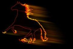 Het paard die van de brand snel op zwarte lopen Stock Foto's