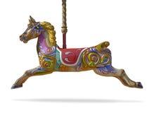 Het paard van de carrousel dat op witte achtergrond wordt geïsoleerdr Stock Fotografie