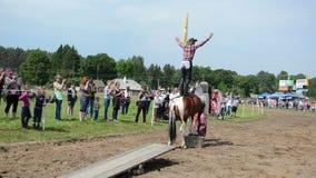 Het paard van de cowboyveedrijfster stock videobeelden