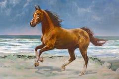 Het paard van de kastanje, fragment van het schilderen royalty-vrije stock foto's