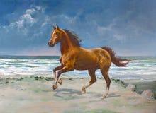 Het paard van de kastanje, het schilderen Royalty-vrije Stock Afbeeldingen