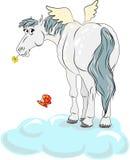 Het paard van het beeldverhaal met vleugels stock illustratie