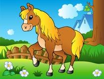 Het paard van het beeldverhaal op de lenteweide Stock Foto's