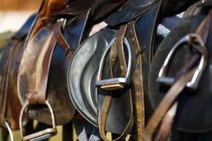 Het paard van het leerzadel stock fotografie
