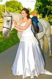 Het paard van het meisje iwith Stock Foto's