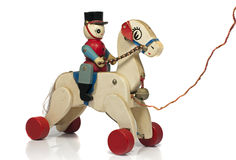 Het paard van het spel met militair in hout Stock Foto