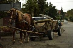 Het paard wordt uitgerust in de levering stock afbeelding