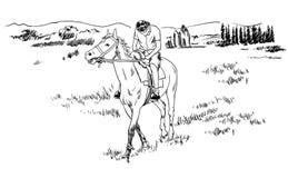 Het paardrijden op de gebieden schetst vectorillustratie, jonge kerelruiter die op horseback rusten royalty-vrije illustratie
