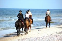 Het paardrijden van het strand Stock Foto