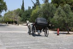 Het paardrit van Athene in de stad Stock Foto's