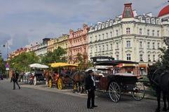 Het paardvervoer in historische stad van karlovy varieert (Karlsbad), Tsjechische Republiek Stock Foto's