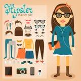 Het pak van het Hipsterkarakter voor geekmeisje stock illustratie