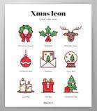 Het Pak van LineColor van Kerstmispictogrammen royalty-vrije illustratie