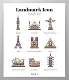 Het pak van LineColor van oriëntatiepuntpictogrammen royalty-vrije illustratie