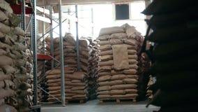 Het pakhuis van zakken bij de industriële productie stock footage