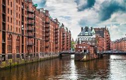 Het pakhuisdistrict van Hamburg Speicherstadt, Duitsland royalty-vrije stock foto
