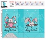 Het pakket van de malplaatjegift voor Pasen om helder te winkelen vector illustratie
