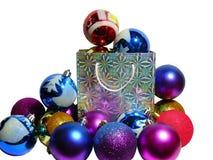 Het pakket wordt gehamerd door de giften van het Nieuwjaar Royalty-vrije Stock Afbeeldingen