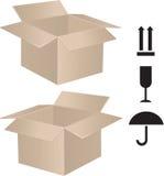 Het pakketdoos van de post met teken Royalty-vrije Stock Afbeeldingen