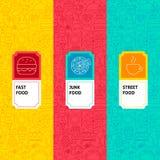 Het Pakketetiketten van het lijn Snelle Voedsel royalty-vrije stock foto's