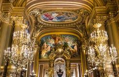 Het Palais Garnier, Opera van Parijs, binnenland en details Stock Fotografie