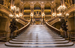 Het Palais Garnier, Opera van Parijs, binnenland en details stock afbeeldingen