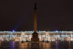 Het Paleis en Alexander Column van de winter Stock Afbeeldingen