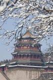 Het paleis van Boeddhistische wierook in het sneeuwseizoen Stock Fotografie