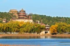 Het paleis van de zomer in de herfst Stock Foto