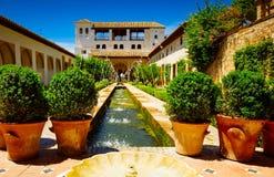 Het paleis van Generalife en tuin, Granada, Spanje stock foto's