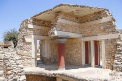Het paleis van Knossos Detail van oude ruïnes van beroemd Minoan-paleis van Knosos Het eiland van Kreta, Griekenland royalty-vrije stock foto's