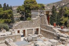 Het paleis van Knossos Detail van oude ruïnes van beroemd Minoan-paleis van Knosos Het eiland van Kreta, Griekenland stock foto's