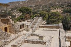 Het paleis van Knossos Detail van oude ruïnes van beroemd Minoan-paleis van Knosos Het eiland van Kreta, Griekenland royalty-vrije stock fotografie