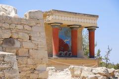 Het paleis van Knossos Detail van oude ruïnes van beroemd Minoan-paleis van Knosos Het eiland van Kreta, Griekenland stock foto