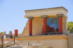 Het paleis van Knossos Detail van oude ruïnes van beroemd Minoan-paleis van Knosos Het eiland van Kreta, Griekenland royalty-vrije stock foto