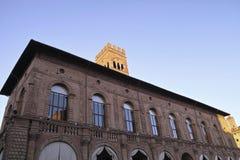 Het paleis van koningsEnzo bij het belangrijkste vierkant van Bologna, Italië Stock Afbeelding