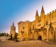 Het Paleis van pausen van Avignon, in Zuidelijk Frankrijk royalty-vrije stock foto's